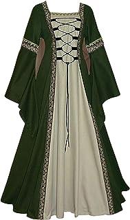 WXDSNH Damesjurk lange vierkante kraag lange mouwen trompetmouwen gothic retro medeival kostuum Halloween edele paleis jur...