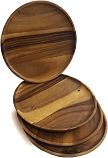 RoRo Round Wood Serving Plates/Chargers, Set of 4