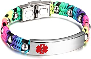 Medical Alert ID Bracelets for Kids with Nylon Rope & Leather Braid Wrap Link,5.5-7.5 inch