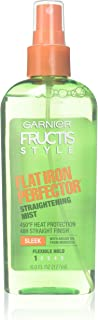 Protects hair from flat iron heat - Garnier Fructis Style Sleek & Shine Flat Iron Perfector Straightening Mist 24 Hour Finish, 6 Fluid Ounce