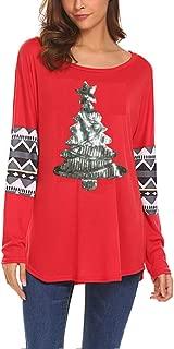 Qearal Womens Casual Long Sleeve Christmas Reindeer Sequin T Shirt Blouse Tops