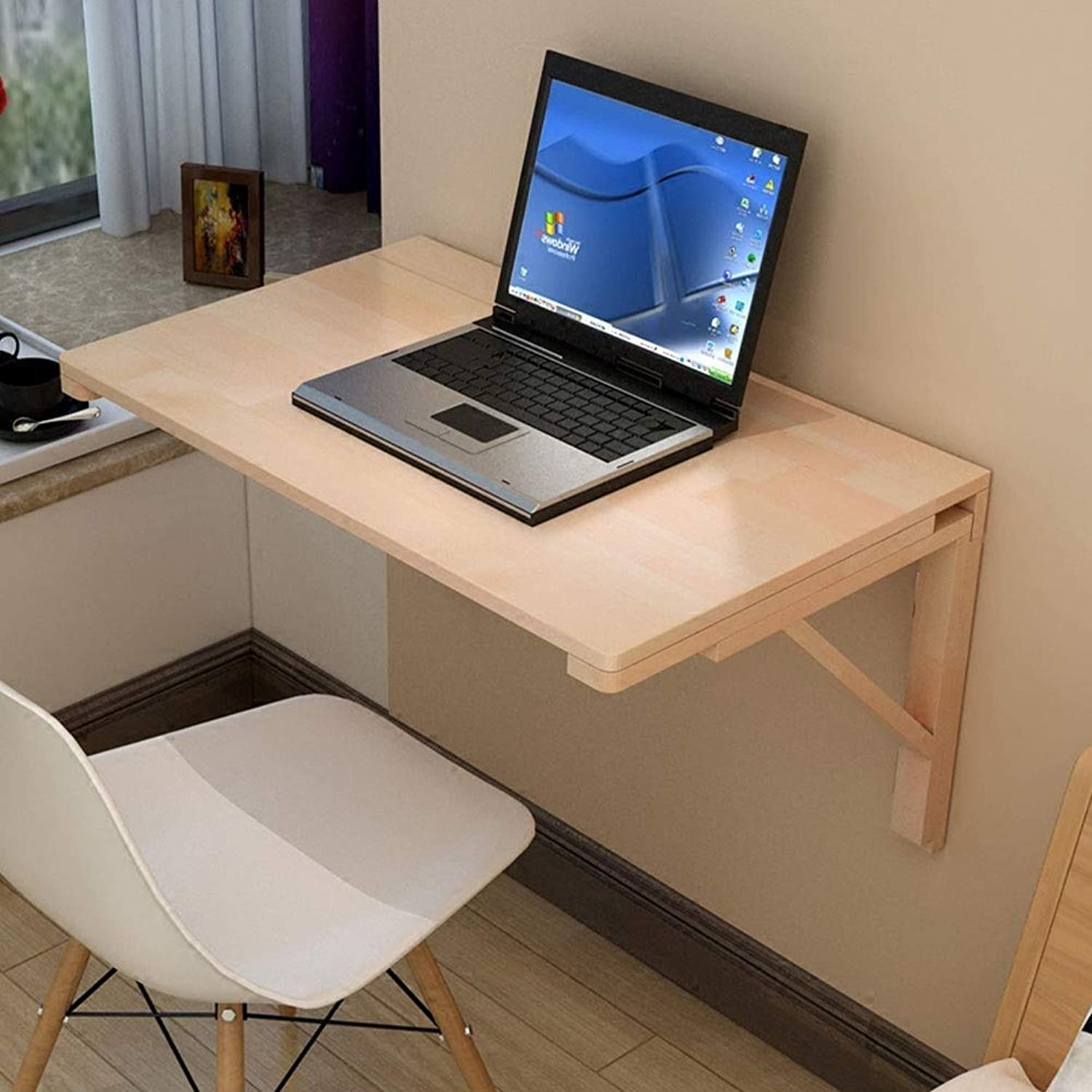 Folding Drop Leaf Table Dining Table Space Saver Fold Congreenible Desk Home Laptop Wall-Mounted Writing Desk Natural color (Size   50  30cm)