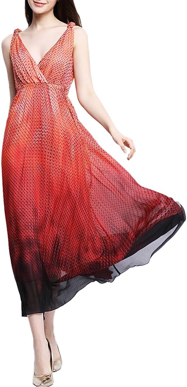 CDCLOTH Women's Summer Silk Long Dress Mulberry Silk Backless Beach Sundresses