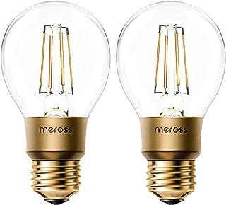 Meross Bombilla Inteligente Regulable. Vintage Edison Lamparas. Bombilla Wi-Fi E27 A19. 9W Equivalente a 60W. Blanca Cálid...