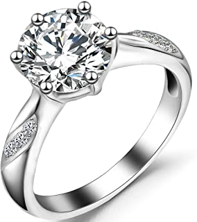 Jude Jewelers Stainless Steel 3 Carat Cubic Zircon Simulated Diamond Wedding Solitaire Ring