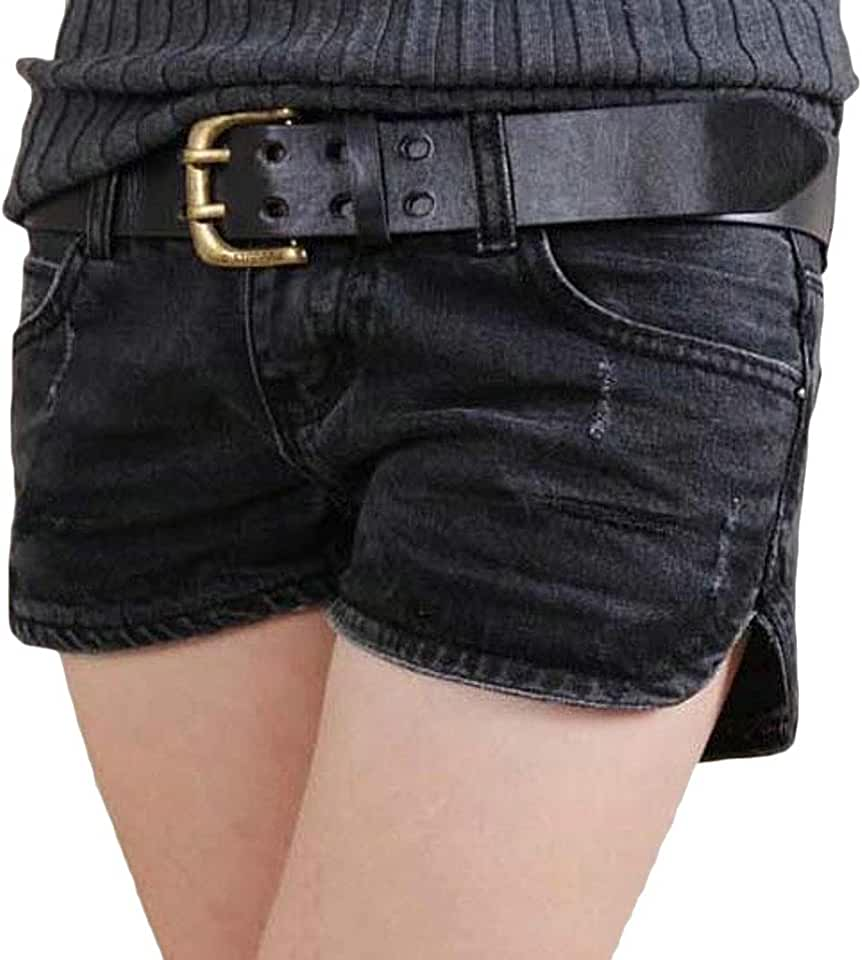 MOUTEN Women Summer Ripped Distressed Skull Print Split Low Rise Denim Hot Shorts Jeans