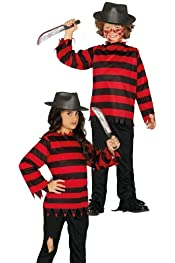 Boys Freddy Krueger Costume and Hat Halloween Fancy Dress Childrens Girls Outfit