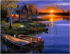 Ukerdo Lake & Boat Picture Arts DIY Diamond Painting Kits Handwork Full Drill Home Wall Décor