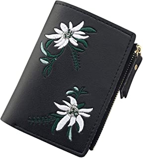 Wiwsi Fashion Embroidery Short Coin Purse Wallet Pouch Women Purse Leather Bag