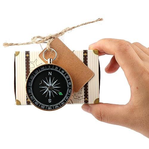 AerWo 20pcs Compass Gift + 20pcs Suitcase Favor Boxes, Creative Vintage Party Favors Travel Themed Wedding Party Souvenirs for Guests