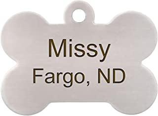 Double Sided Stainless Steel Bone Dog ID Tag - Personalized Laser Engraving with S-Hook and Split Ring
