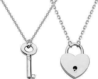 CHOORO Couple Love Shape Lock Key Pendant Necklace You are The Best Match to Open My Hear Boyfriend/Girlfriend