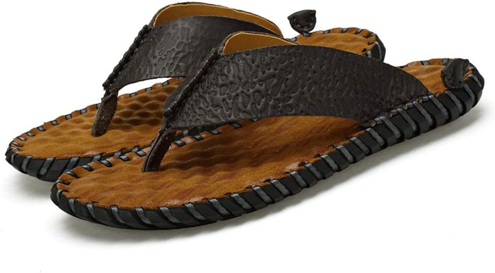 Teerwere Men's Shower Sandals Antislip Summer Men's Rustic Style Flip Flop Soft Comfortable Rubber Beach Sandal 3 Colors Comfortable Shower Beach Shoe (Color : Yellow, Size : 43)