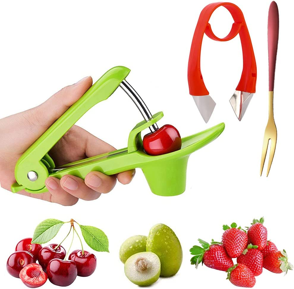 Cherry Pitter Tool Strawberry Huller, Cherry and Olive Pit Remov