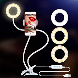 Ring Light with Stand for Live Stream, Dimmable[3-Light Mode][9-Level Brightness] Clamp On Gooseneck Cell Phone Stand with Selfie Ring Light for YouTube, Facebook, Iphone X, 8, 7, 6/Plus, Samsung, HTC