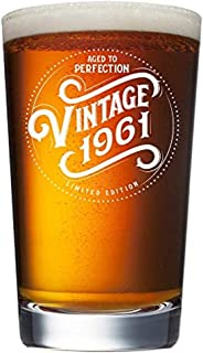 1961 58th Birthday Gifts for Women and Men Beer Glass - Funny Vintage 58 Year Old - Anniversary Gift Ideas for Him, Her, Dad, Mom, Husband or Wife. 16 oz Pint Glasses. Party Decorations IPA Mug Cup