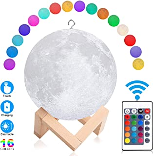Upgraded Moon Lamp 3D Printing LED Moon Light with Stand & Hanging, 5.9 Inch 16 Colors Touch Sensor Switch & Remote Control Dimmable USB Rechargeable for Baby Kids Lover Christmas Gifts