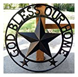 COLIBROX GOD Bless Our Home Metal Barn Star Rustic Brown Texas Rope Ring Wall Decor 24'