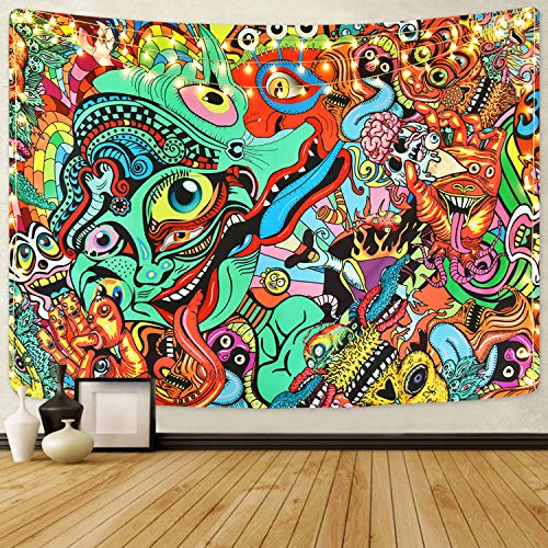 Bateruni Hippie Wandteppich Psychedelic, Mehrfarbiger Wandbehang Wandtuch, Abstrakte Bunte Moderne dekorative Tapisserie für Schlafzimmer Wohnheim, 210x150 cm