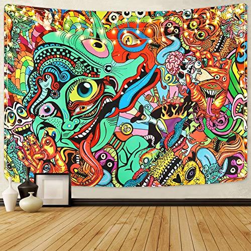 Bateruni Hippie Wandteppich, Mehrfarbiger Wandbehang Wandtuch, Abstrakte Bunte Moderne dekorative Tapisserie für Schlafzimmer Wohnheim, 210x150 cm