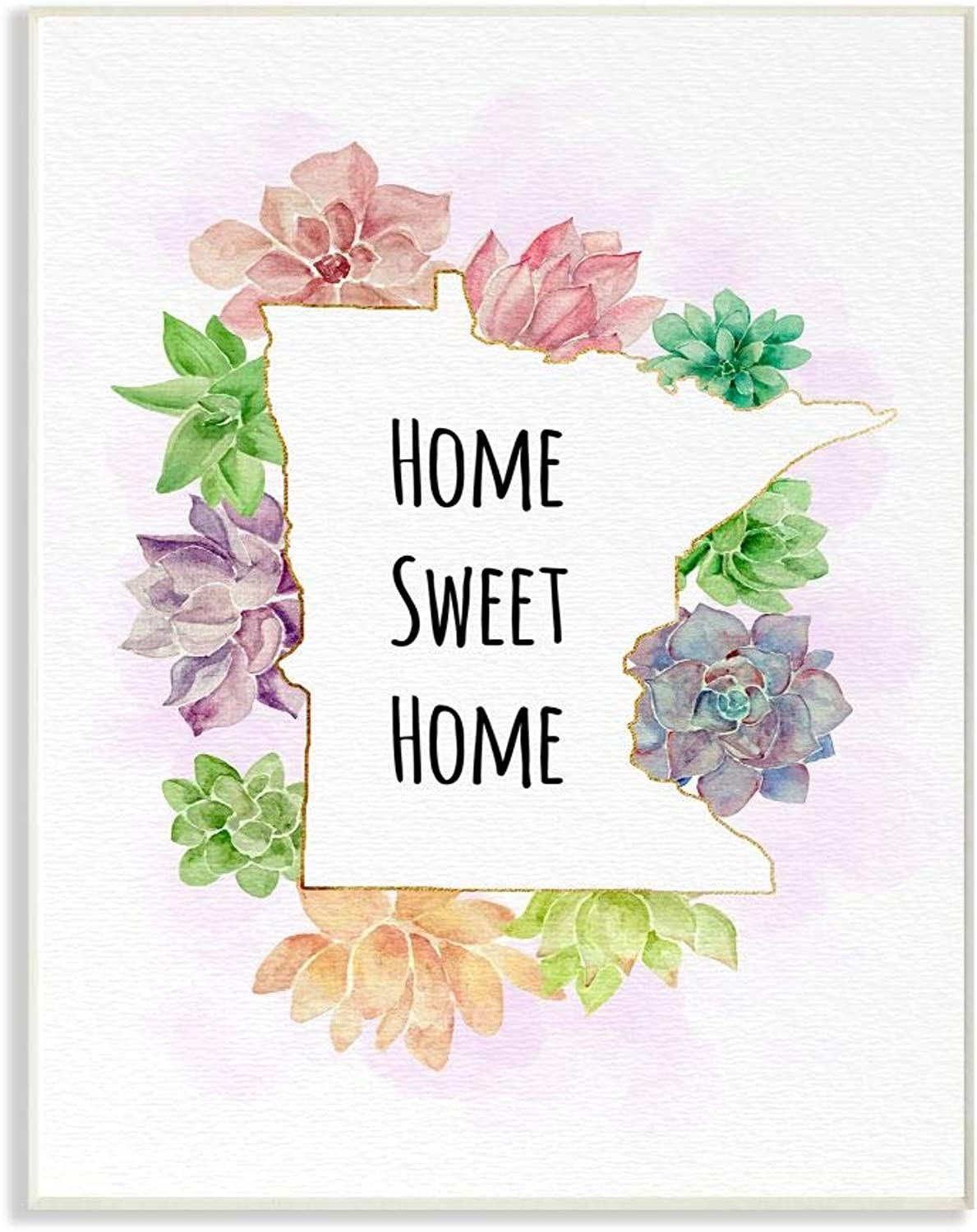 The Stupell Home Decor Collection cw-1524_wd_12x18 Minnesota State Home Sweet Home Succulent Watercolor Vignette Wall Plaque Art, 12 x 18