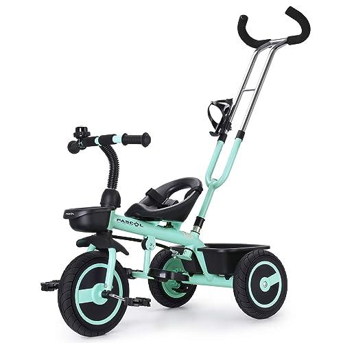 Fascol Tricycle Bébé Evolutif avec Roues Silencieuses en Caoutchouc pour Enfant de 18 Mois à 5 Ans Charge 30 kg, Vert