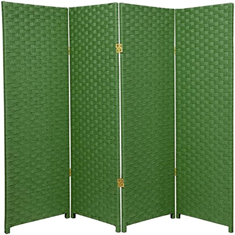 Oriental Furniture Small Size 4 Panel Room Divider, 4-Feet Rattan Like Woven Plant Fiber Folding Privacy Screen, Light Green