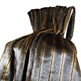 Thomas Collection Luxury Brown Mink Faux Fur Throw Blanket & Bedspread - Two Tone Brown Mink Fur Throw Blanket - Mink Fur - Brown Fur Blanket, Handmade in USA, 16424