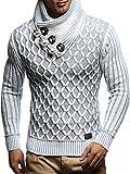 Leif Nelson Herren-Strickpullover Strick-Pulli mit Schalkragen Moderner Woll-Pullover Langarm LN5385 Ecru Grau Medium
