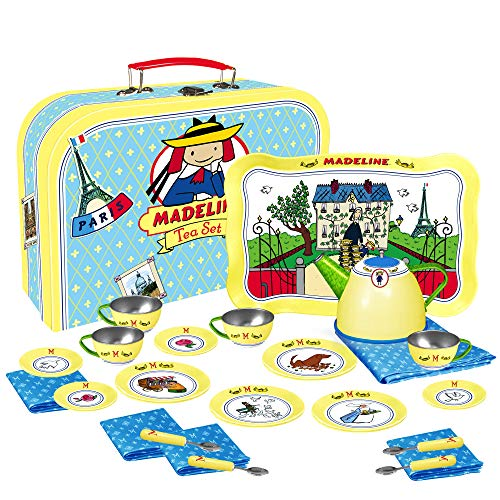 YOTTOY Madeline Collection | 24-Piece Kids Tin Tea Set Toy w/ Illustrations, Monograms, Carry Case