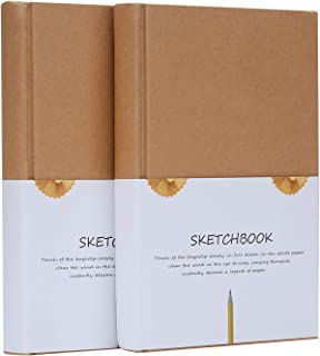 2 Pack Blank Sketchbooks, Hardcover Sketch Pads Notebook Journals Bulk for Travelers, Class and Art, Drawing Memo Book Planner with Plain Paper, 100gsm, 240 Pages/ 120 Sheets, 5.5x8.3 inch, A5 Size