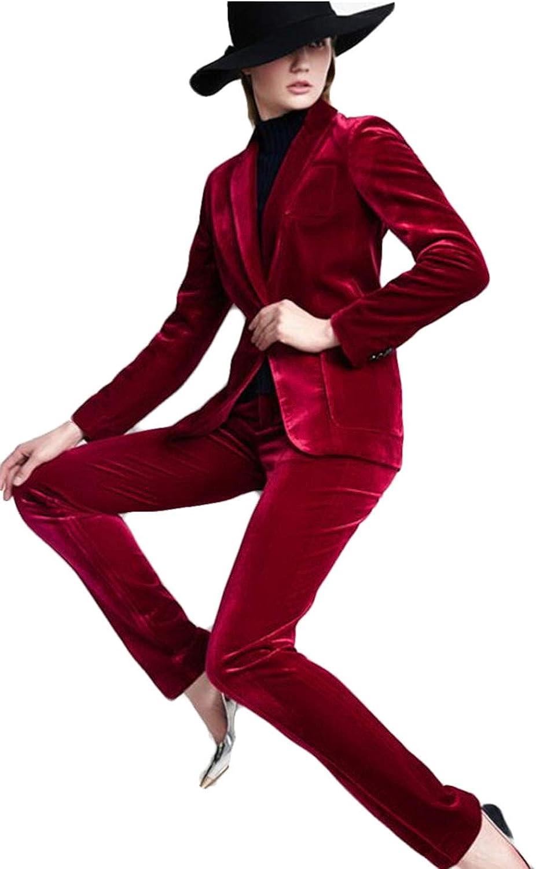 WZW Burgundy Velvet Women Business Suits High Waist Pants Female Office Uniform Formal Elegant Pant Suits