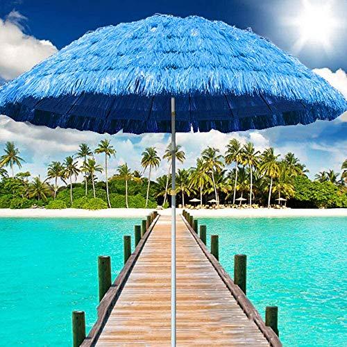 Parasol ZMLQ 1.5m Sombrilla Hawaii, Playa De Hula Rafia con Techo De Paja Azul Al Aire Libre, Utilizado para Vacaciones En La Terraza Al Aire Libre