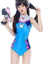 Lucky2Buy Womens DVa Cosplay Costume Schoolgirl One-Piece Swimsuit Slim High Waist Swimwear Bodysuit