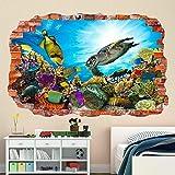 Pegatinas de arte de pared bajo el agua, calcomanía mural, peces de mar, acuario, dormitorio para niños BZ47 mural calcomanía Decal Print 60x90cm