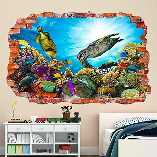 Stickers muraux Autocollants muraux sous-marins, décalcomanie murale, poissons de mer, aquarium, chambre d'enfants BZ47 Decal Poster 3D Decor 60x90cm