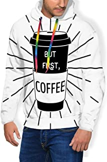 GULTMEE Men's Hoodies Sweatershirt, Typographic and Monochrome Design of a Coffee Cup with Typography,5 Size
