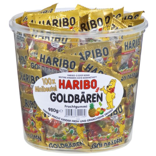 Haribo Gold Bears / Goldbären, 100 Mini Bags, 980g Tub
