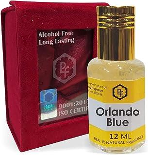 手作りのベルベットボックスParagフレグランスオーランドブルー12ミリリットルアター/香油/(インドの伝統的なBhapka処理方法により、インド製)フレグランスオイル アターITRA最高の品質長持ち