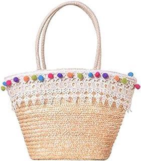 Shining crown Sac à main en paille pour femme - Sac à main tissé en dentelle - Panier de mariage, de shopping, de plage - ...