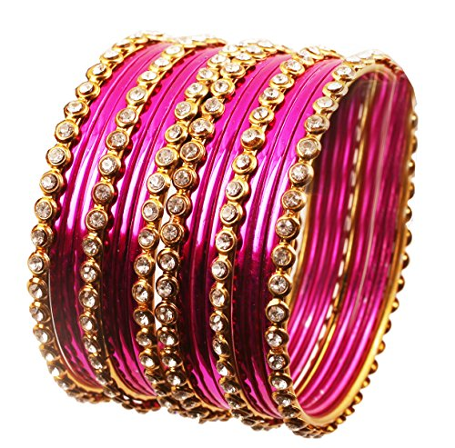 Touchstone'Colorful Collection' Indian Bollywood Alloy Single Line Clear Rhinestone And Textured Fuchsia Pink Color Bangle Bracelets Set of 18 In Antique Gold Tone For Women.