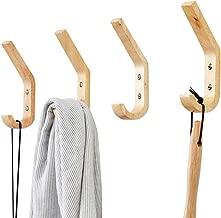 YOYAI 4 PCS Wood Coat Hook Wall Mounted Vintage Single Hook Hat Rack Towel Hanger Wood Wall Hooks Wall Organizer Decorative Heavy Duty
