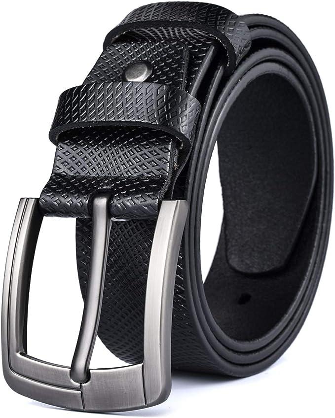 30 opinioni per MRACSIY Cintura da uomo con fibbia ad ardiglione Cintura in vera pelle (W) 3,8