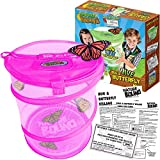 Nature Bound Butterfly Growing Habitat Kit - With Discount Voucher to Redeem Live Caterpillars for Home or School Use - Pink Pop-Up Cage 12-Inches Tall - for Boys and Girls Ages 5+