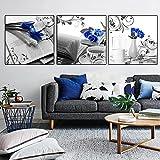 Pintura en Lienzo de Rosas Azules Modernas Carteles artísticos en Blanco y Negro Impresiones Cuadros de Pared Simplicidad nórdica Sala de Estar Decoración del hogar   50x50cmx3 Sin Marco