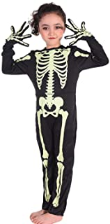 Skeleton Costume Glow-in-The-Dark for Toddler Halloween Party Dress for Girls,Boys (3-4ys)