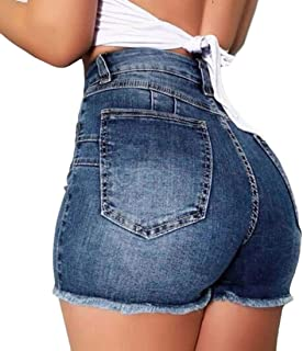 SHOWNO Women Summer A-Line High Waist Hole Denim Bodycon Mini Skirts