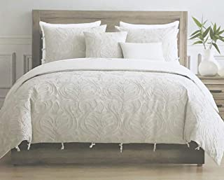 Tahari Home Maison Bedding King Size Luxury 3 Piece Duvet Comforter Cover Set Textured Woven Cotton Clip Jacquard Modern Abstract Pattern Light Tan Thread on Cream/Light Tan - Zaha, Ecru