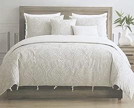 Tahari Home Maison Bedding Queen Size Luxury 3 Piece Duvet Comforter Cover Set Textured Woven Cotton Clip Jacquard Modern Abstract Pattern Light Tan Thread on Cream/Light Tan - Zaha, Ecru