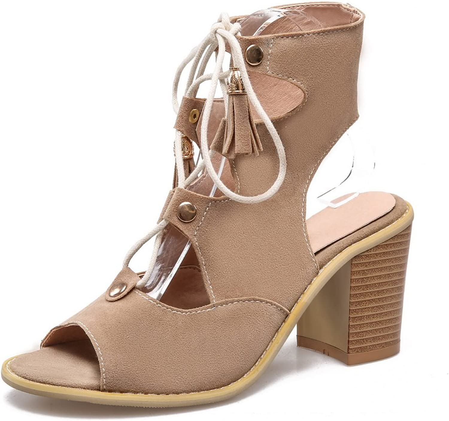 AdeeSu Womens Cross-Body-Strap High-Heels Frosted Sandals